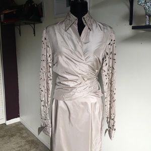 Tan Silk Long Sleeve Two Piece Dress Skirt Set